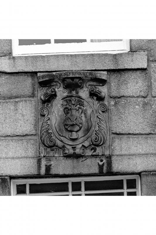 Aberdeen, Old Aberdeen, High Street, Town House. General view of South wall, armorial plaque above doorway.