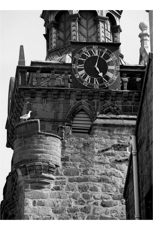 Aberdeen, Castle Street, Municipal Buildings, Tolbooth Tower. Detail of parapet. North Side.