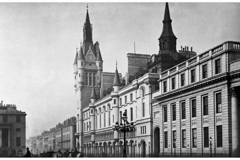 Aberdeen, Castle Street, Municipal Buildings. General view from South-East. Insc: 'Municipal Buildings. Aberdeen. 531A. G.W.W'.