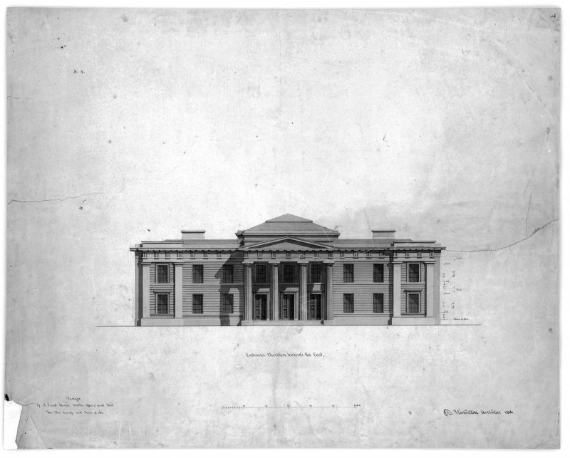 Photographic copy of Entrance Elevation towards the East Signed 'D Hamilton Architect 1814'