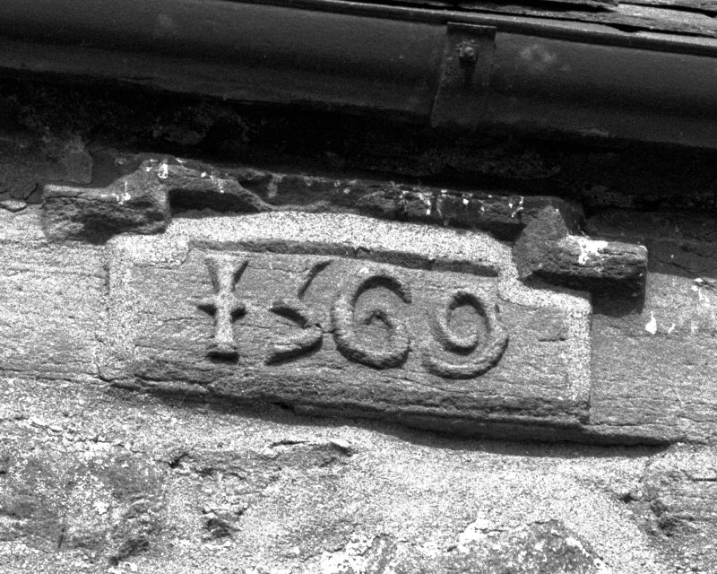 East facade, detail of 1569 datestone