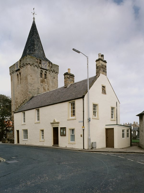 General view from south west of Tolbooth and Church tower