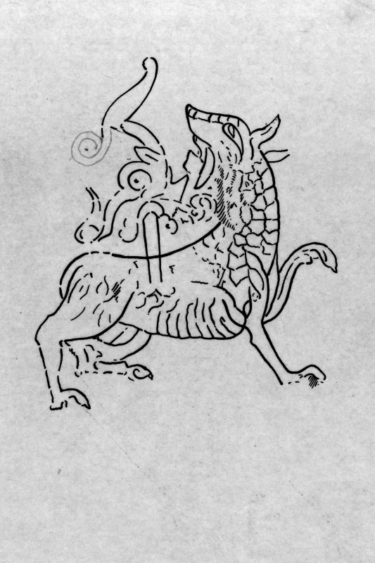 Tracing of dragon engraving, probably from photograph. Mounted on card and filed in photograph boxes.