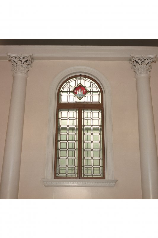 Interior - council chamber, north west wall, detail of stained glass window