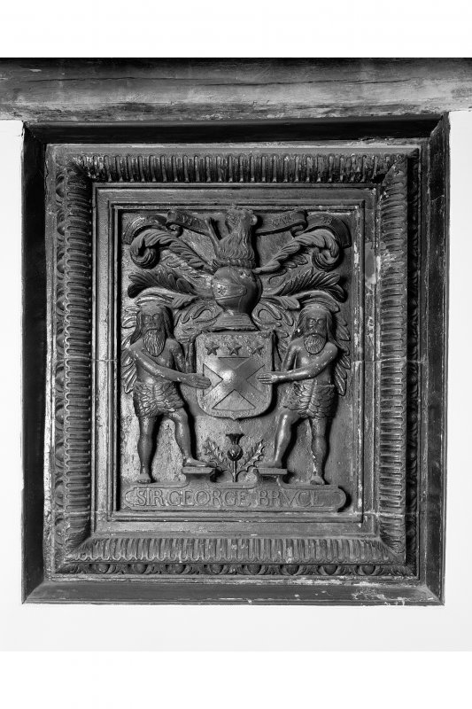 First Floor, east room, detail of carved Sir George Bruce heraldic plaque