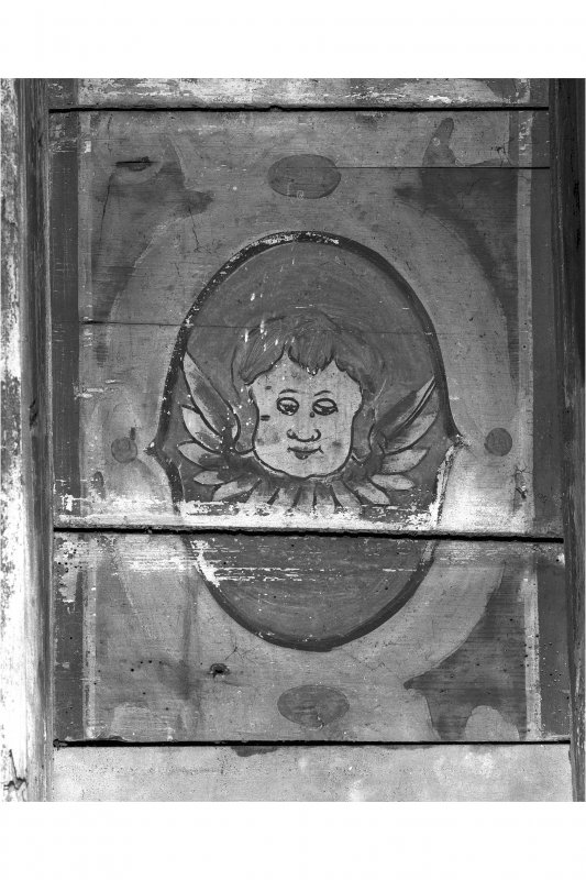 First Floor, east room, ceiling, detail of painted putti head