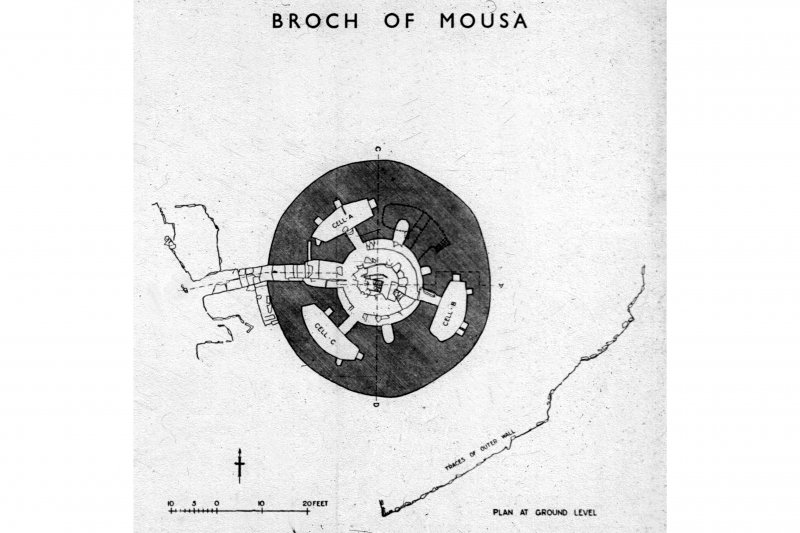 Publication drawing; Mousa, plan at ground level; from plan supplied by HM Office of Works. Photographic copy.