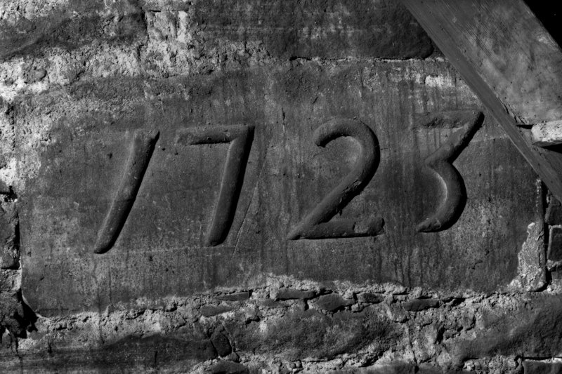 Interior. Tower, detail of 1723 datestone.