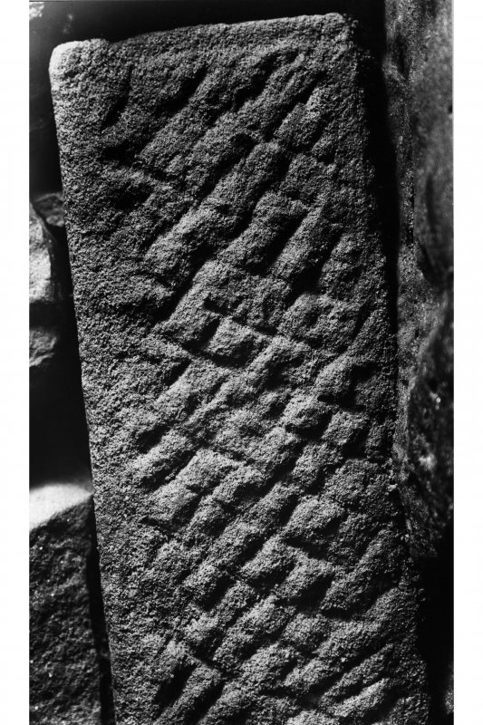 Detail of Roman stone in souterrain. Glass negative.