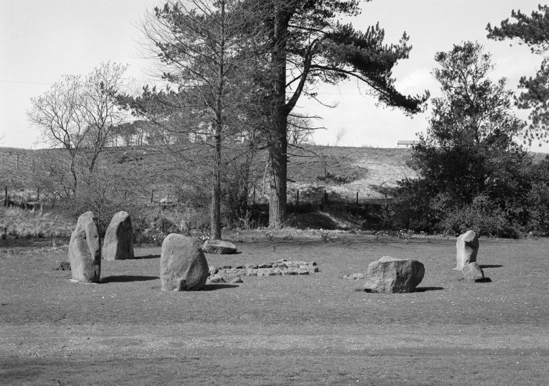 View of Balbirnie stone circle and cairn.