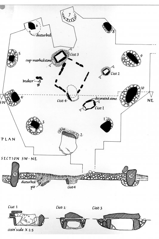 Plan of stone circle with a section drawing through site running SW-NE (lower levels). Also sections through cists 1-3.