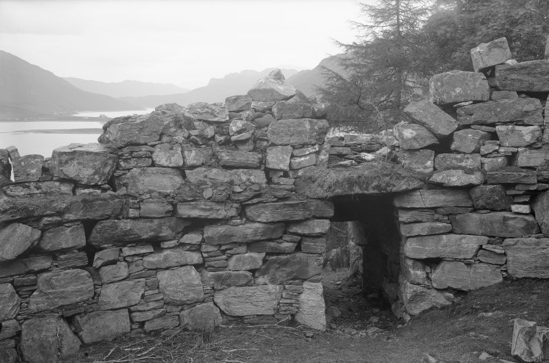 Caisteal Grugaig. View towards broch entrance passage from interior.