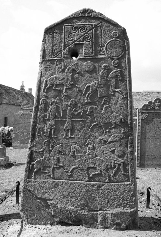Reverse of Aberlemno no 2, the Churchyard cross slab, showing Pictish symbols and battle scene.