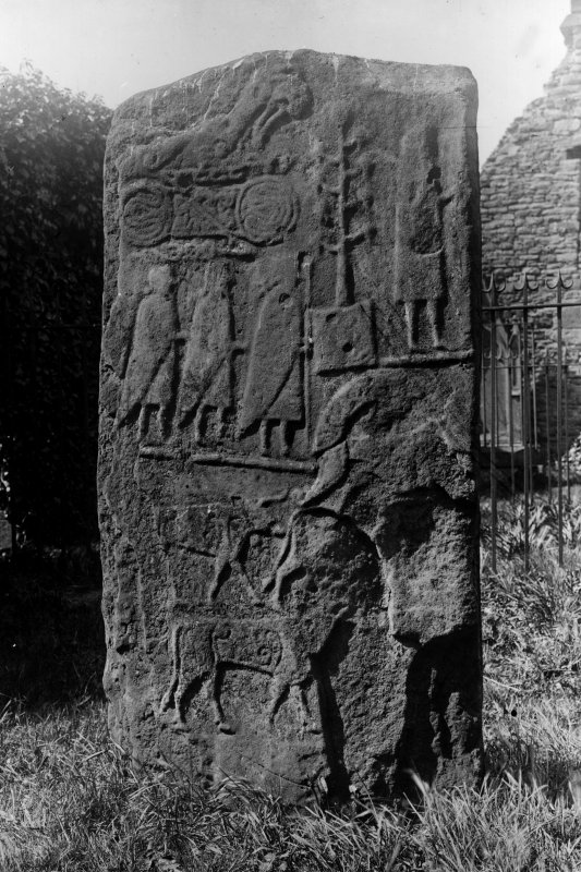 Back view of the Eassie cross-slab.  Copyright transferred to RCAHMS 1987
