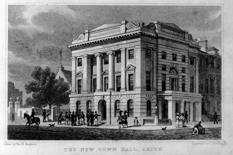 Photographic copy of an engraving showing general view of Leith Old Town Hall, insc: 'The New Town Hall, Leith'.