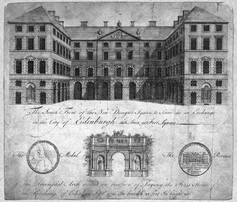 Scanned image of engraving showing the S front of Edinburgh City Chambers.