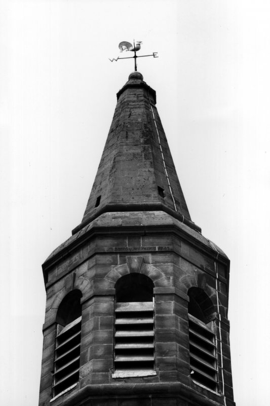 Detail of upper stage of tower and steeple from S.