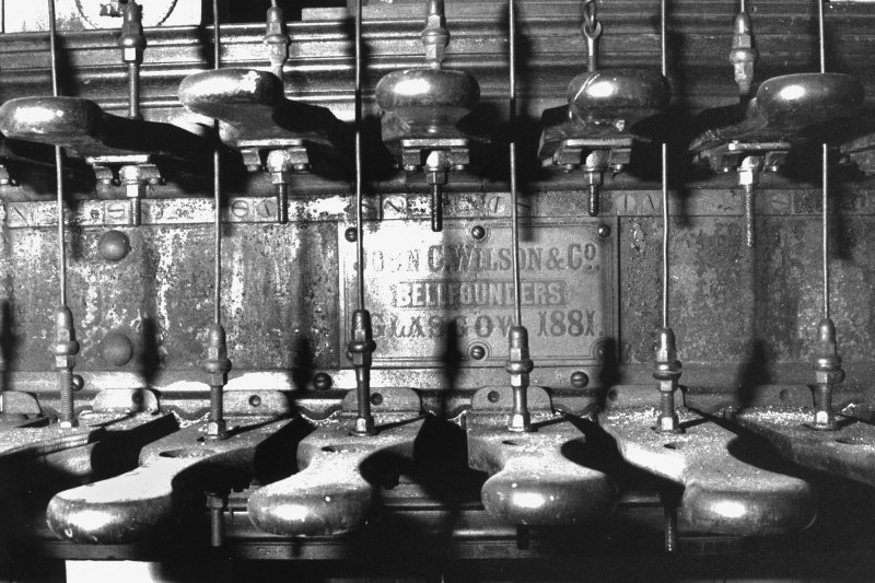 Interior. Detail of carillon keys with maker's plaque