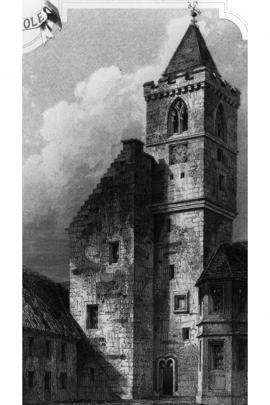 General view. Photographic copy of an engraving by John Godfrey. Copied from 'Baronial and Ecclesiastical Antiquities of Scotland'