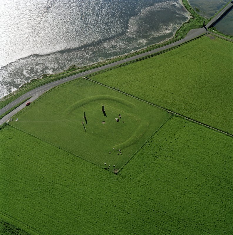 Aerial view of Orkney, Stones of Stenness, henge and standing stones, taken from the SE.