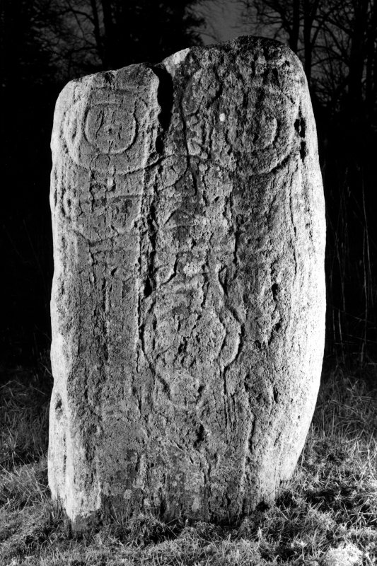 Keith Hall, Pictish symbol stone. View from S, dated 19 April 1996.