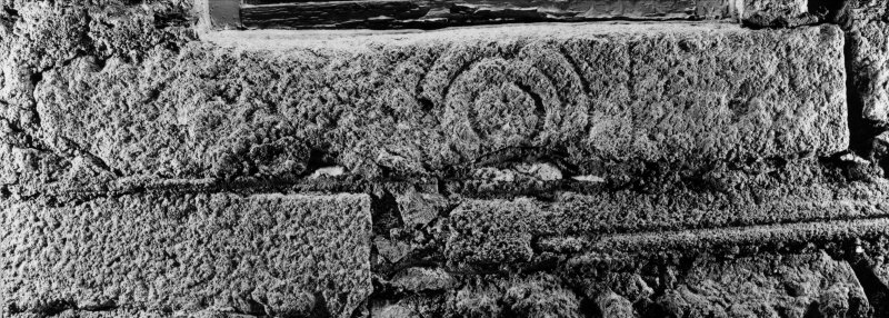 East Balhalgardy, Pictish Symbol Stone. Front face of stone forming lintel, 17 April 1996 (print mounted inverted).