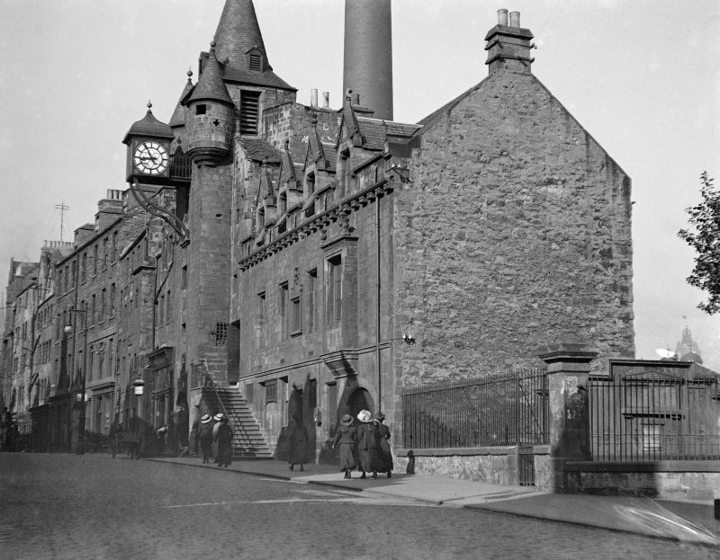 View from south east of Tolbooth showing Gasworks Chimney in background