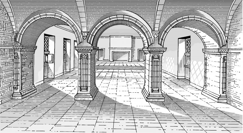 Interior perspective. Conjectural Reconstruction of Arcade (not to scale) Preparatory drawing for 'Tolbooths and Town-Houses', RCAHMS, 1996. N.d.