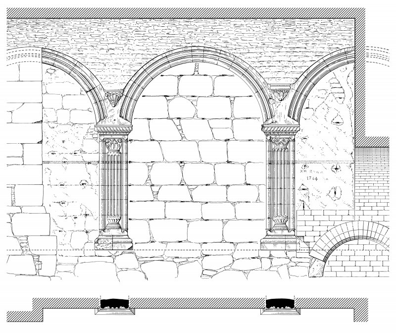 First floor, arcade in west wall: Elevation; Strip Plan. Preparatory drawing for 'Tolbooths and Town-Houses', RCAHMS, 1996. N.d.