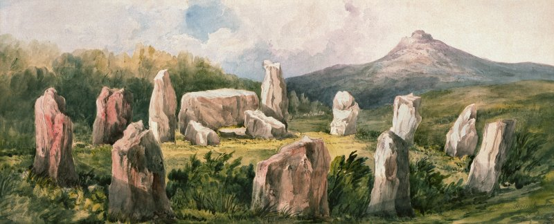 Digital image of watercolour view of Easter Aquhorthies stone circle by Lady Sophia Dunbar, 1870.