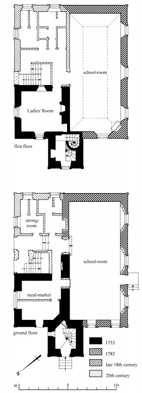 Floor plans: ground; first; second; third; fourth Preparatory drawing for 'Tolbooths and Town-Houses', RCAHMS, 1996. N.d.