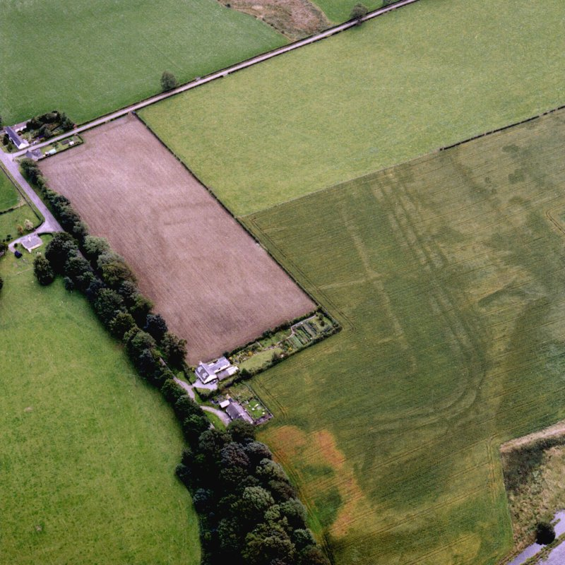 Oblique aerial view of Glenlochar Roman Fort.