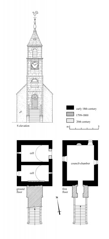South Elevation; Ground Plan; First Floor Plan. Preparatory drawing for 'Tolbooths and Town-Houses', RCAHMS, 1996.