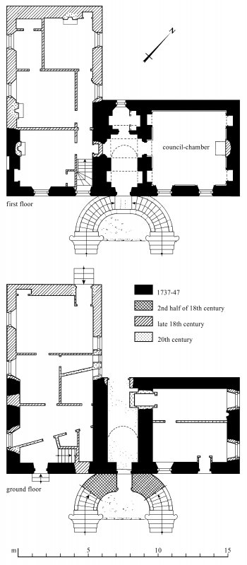 Plans: first floor; ground floor Preparatory drawing for 'Tolbooths and Town-Houses', RCAHMS, 1996. N.d.