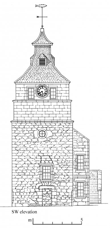 South west elevation of Crail tolbooth and townhall. Preparatory drawing for 'Tolbooths and Town-Houses', RCAHMS, 1996. N.d.