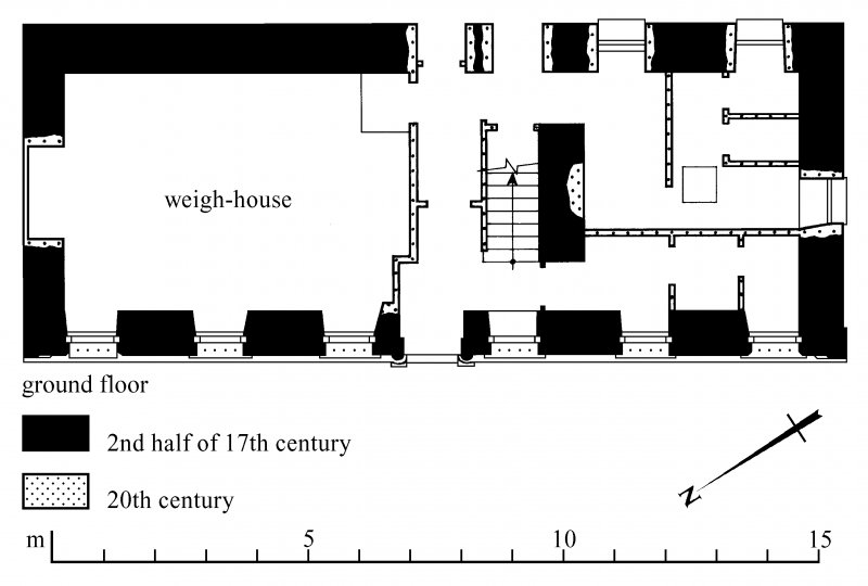 First floor plan; ground floor plan Preparatory drawing for 'Tolbooths and Town-Houses', RCAHMS, 1996. N.d.