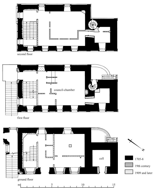 Plans: ground floor; first floor; second floor Preparatory drawing for 'Tolbooths and Town-Houses', RCAHMS, 1996. N.d.