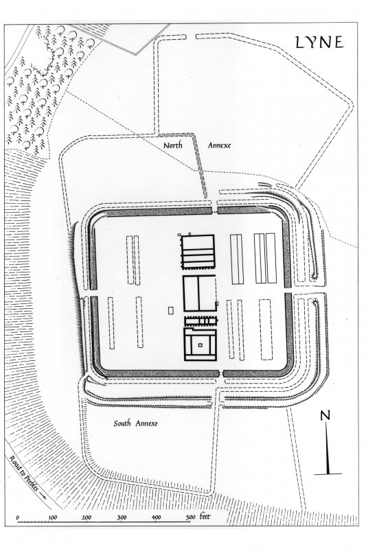 Lyne, Roman fort: air photograph. Plan of the Roman fort at Lyne: Inventory fig. 185.