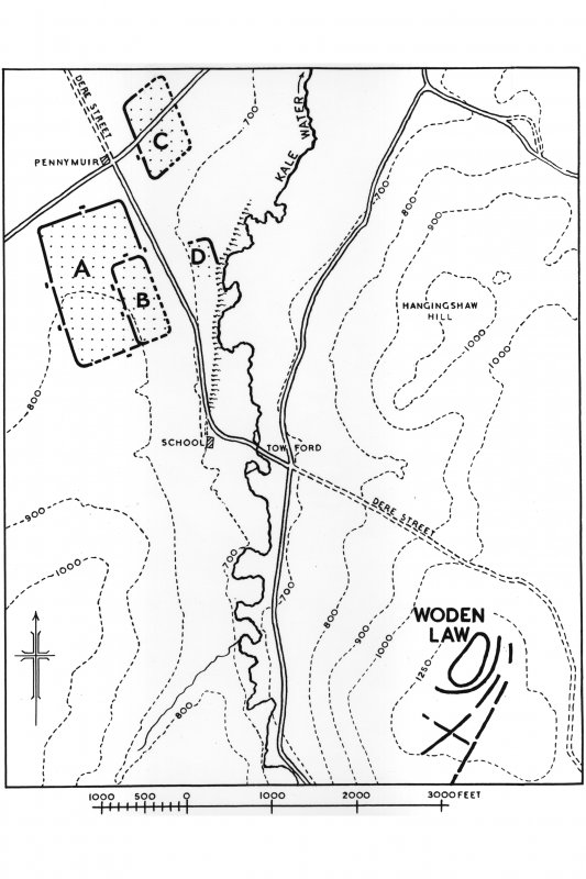 Map showing locations of the Pennymuir Roman temporary camps and Woden Law fort.  Inventory no. 794.