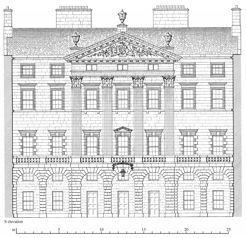 South elevation of Edinburgh City Chambers. Preparatory drawing for 'Tolbooths and Town-Houses', RCAHMS, 1996. N.d.