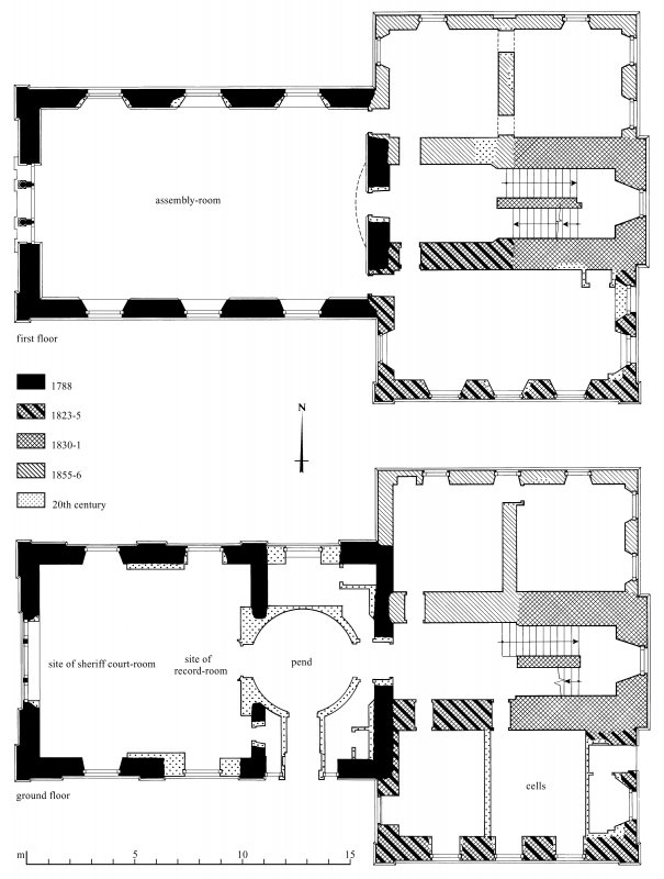 Floor plans. Preparatory drawing for 'Tolbooths and Town-Houses', RCAHMS, 1996. N.d.