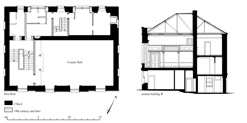 Survey drawings: First-floor plan; Section Preparatory drawing for 'Tolbooths and Town-Houses', RCAHMS, 1996.