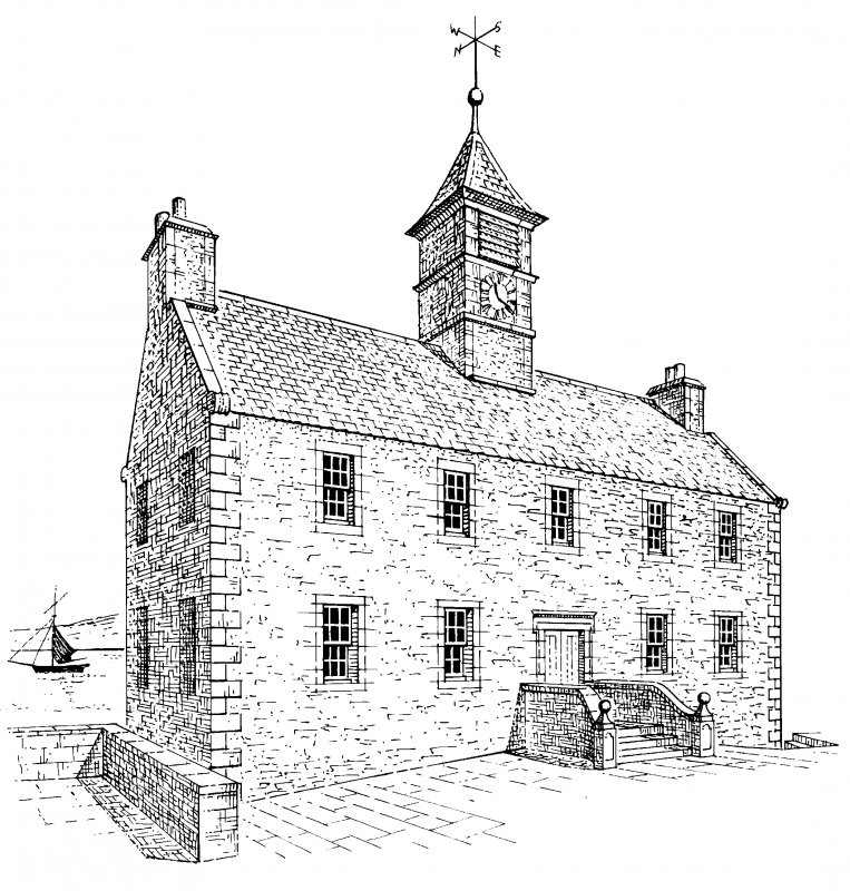 Perspective view from south west. Conjectural reconstruction (Not to scale) Preparatory drawing for 'Tolbooths and Town-Houses', RCAHMS, 1996. N.d.