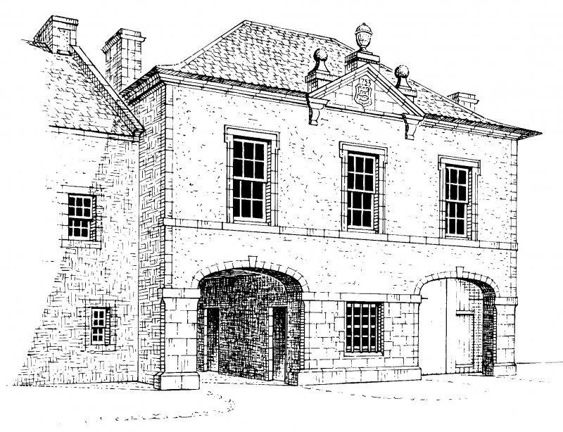 Front elevation, conjectural reconstruction (not to scale) Preparatory drawing for 'Tolbooths and Town-Houses', RCAHMS, 1996. N.d.