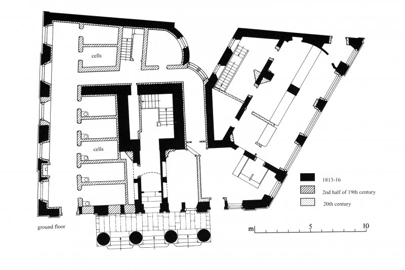 Survey drawings: Ground-floor plan; First-floor plan Preparatory drawing for 'Tolbooths and Town-Houses', RCAHMS, 1996.
