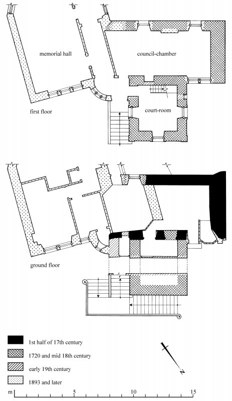 Plans: Ground floor; First floor. Preparatory drawing for 'Tolbooths and Town-Houses', RCAHMS, 1996. N.d.