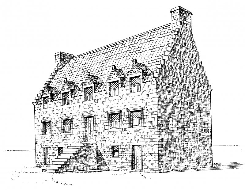 Perspective view, conjectural reconstruction (not to scale). Preparatory drawing for 'Tolbooths and Town-Houses', RCAHMS, 1996. N.d.