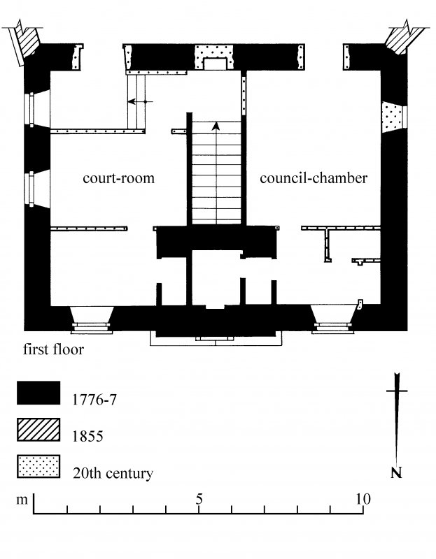 First floor plan. Preparatory drawing for 'Tolbooths and Town-Houses', RCAHMS, 1996. N.d.