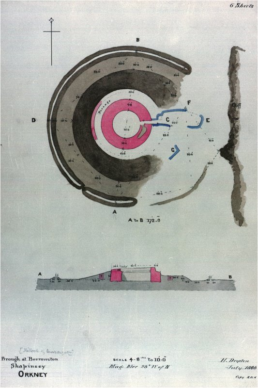 Plan and section of structures and earthworks, Hillock of Burroughston broch, Shapinsay, with measurements. Drawn by H Dryden in July 1866 and copied by A H Kersey. Inscribed: 'Brough at Borrowston, S ...