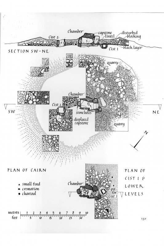 Publication drawing; plans and section of the chambered cairn at Dalineun. Scanned image of photographic copy.